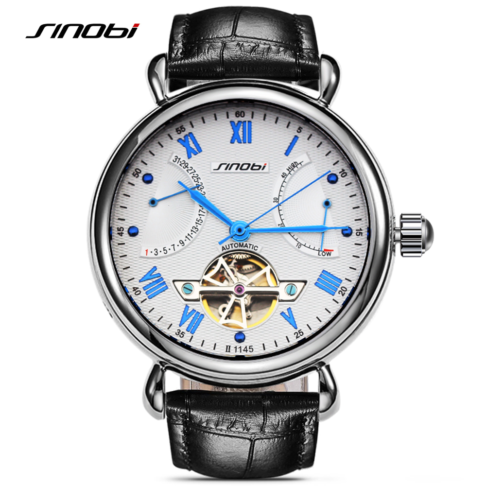 Image 2 - SINOBI Mens Automatic Mechanical Watch Tourbillon Males Skeleton Wrist Watches Quality Gift Box Wristwatches Relojes Mecanicos-in Mechanical Watches from Watches