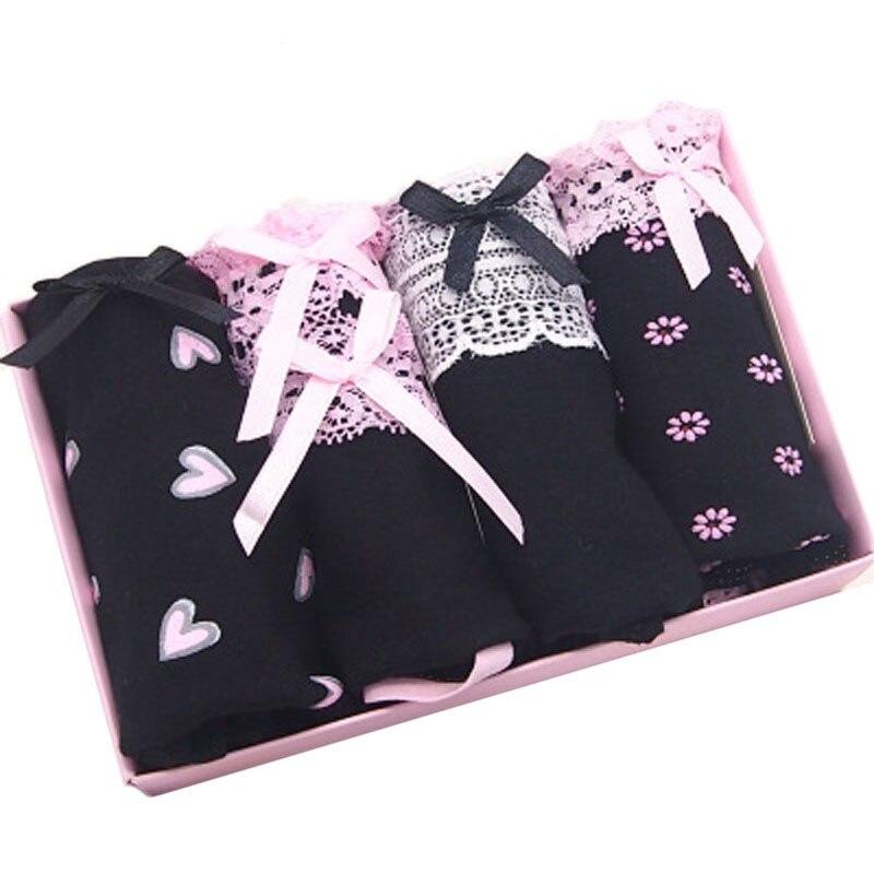 4Pcs/Lot Cotton Panties Women Underwear Sexy Briefs Plus size S-4XL Printing Briefs Seamless Cute Soft Comfort Girls Lingeries