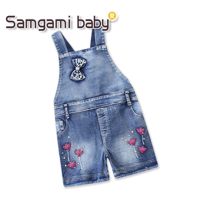 SAMGAMI BABY Girl Overalls Denim Short Bib Pants Jeans Toddler Girls Summer Clothing Children Jumpsuits Outfits Kids Clothes