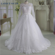 White Ball Gown Wedding Dress Long Sleeves vestido de noiva Lace Up Back robe mariee Appliques Gowns