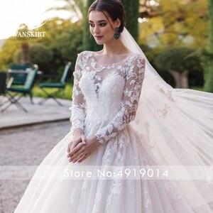 Image 5 - Swanskirt רומנטי 3D אפליקציות חתונת שמלת 2020 סקופ צוואר ארוך שרוול כדור שמלת אשליה הכלה שמלת Vestido דה Noiva K186