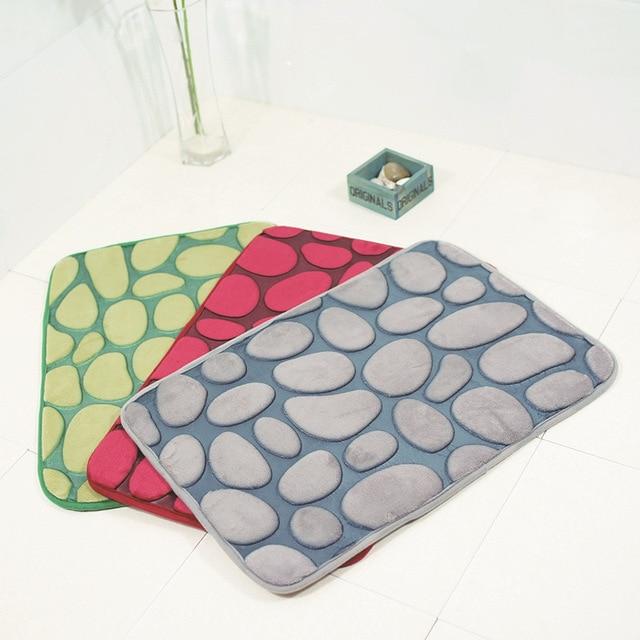 Honlaker Double Color 3d Pebble Bath Mat Water Absorption Non Slip