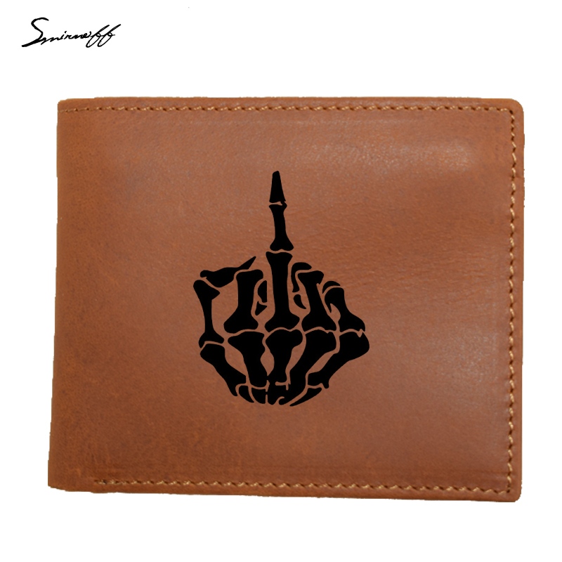 100% Genuine Leather Mens Wallet Personalized SKULL FINGER Waterproof Cowhide Wallets For Man Short Walet Portefeuille Homme