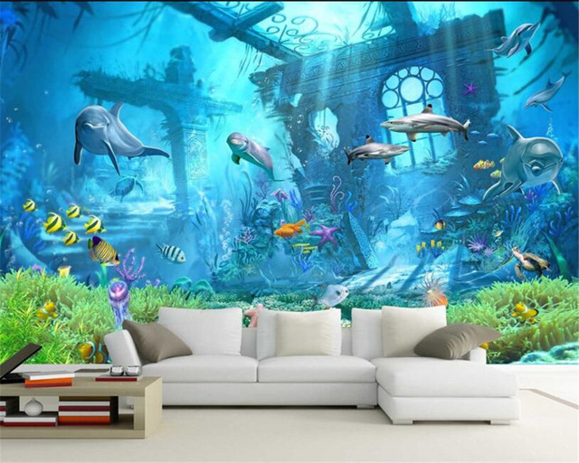 Beibehang Underwater World Ocean Dolphin Background Wall 3D Wallpaper Kids Room Decorated For Walls 3