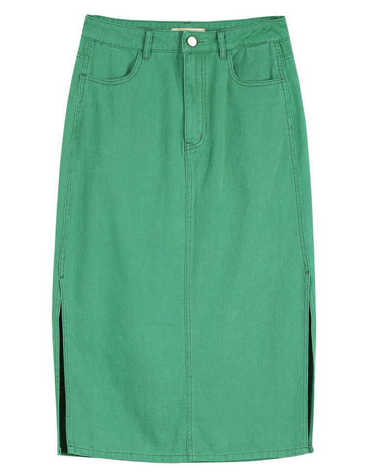 Sams Tree Women Denim Skirts Summer 19 Vintage Solid Straight Office Lady Long Skirt Pencil Mid-Calf Femme High Waist Bottoms 11