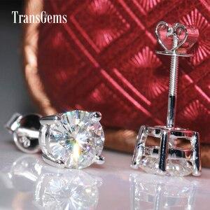 Image 5 - Transgems Classic Basket Setting 14K 585 White Gold 2CTW 6.5mm FGH Color Moissanite Stud Earrings For Women Screw for Women
