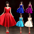elegant tea length evening prom dress 2017 fashion spring quality satin custom made sweet bow 14 colors party formal dress