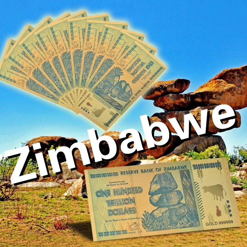 10 adet WR Altın Banknot Renkli Zimbabve 100 Trilyon Dolar Kopya Para ile Belgesi Kartı için Hediyeler