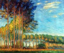 Poplars on the Banks of the River Epte by Claude Monet Handpainted