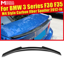 For F30 F35 Rear Spoiler M4 Style Carbon Fiber 320i 325i 328i 330i 335i 335xD Trunk Tail Wing Lip car styling 2012+