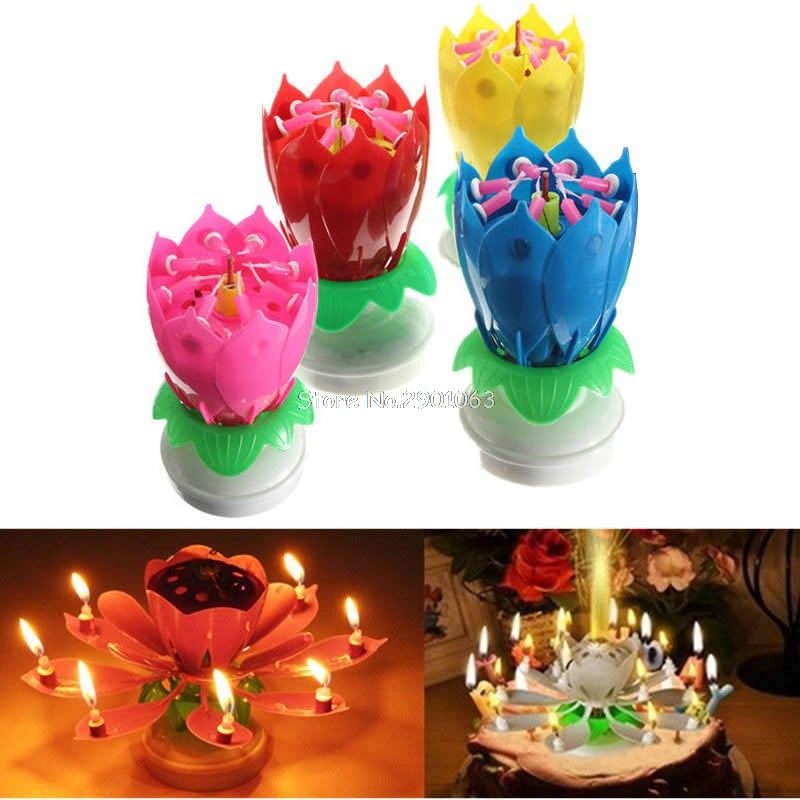 Musical Romantic Lotus Candles Happy Birthday Flower Rotating Party Gift Candle Lights H06