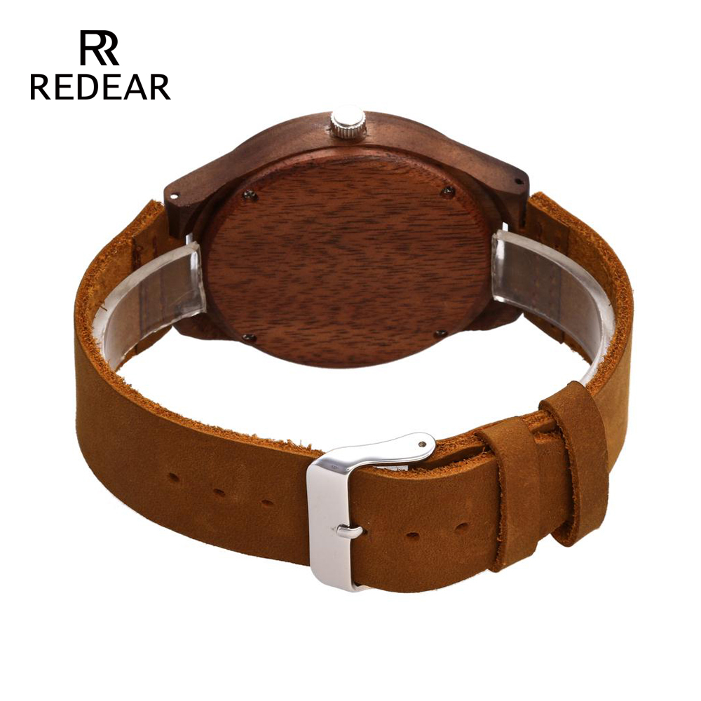 REDEAR Mens Design Brand Luxury Walnut Wooden Watches Real Leather - Damklockor - Foto 4
