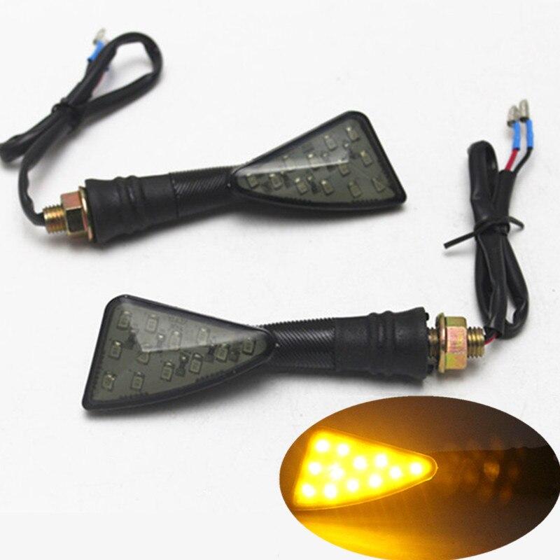 2x Motorcycle LED Turn Signal Indicator Lights Amber Lamp For Honda Yamaha Suzuki Kawasaki Dirt Bike Cruiser Chopper Street Bike