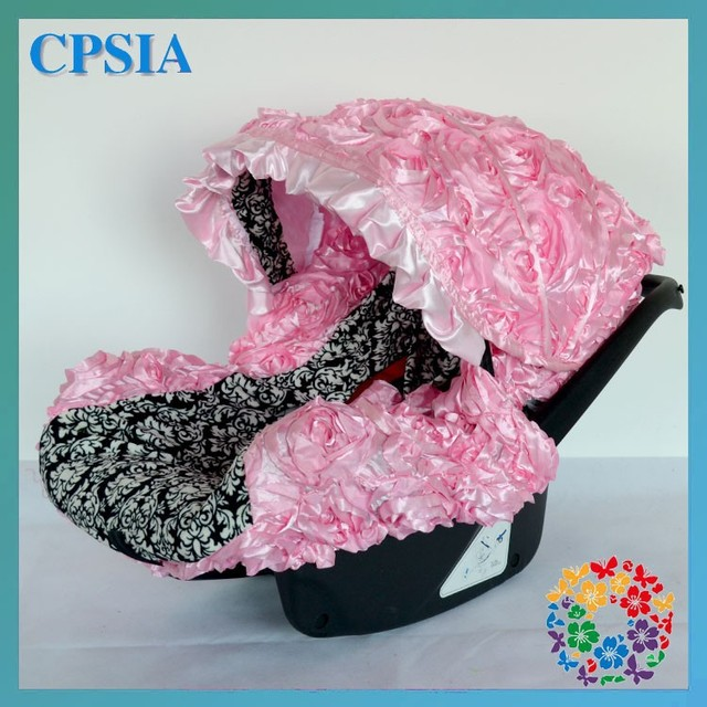 Wholesale Hot Pink Damask Infant Car Seat Canopy Cover Fit Most Seats Newborn