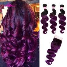 עלי קוקו גוף גל 3 צרור עם סגירת 1B/סגול צבע ברזילאי שיער חבילות עם סגירת 8 28 inch רמי הארכת שיער
