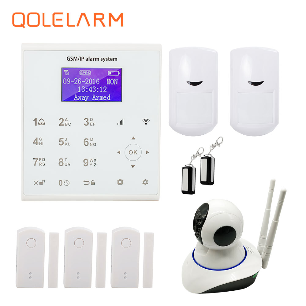 QOLELARM Spanish Polish English 433 MHz sms gprs WiFi gsm home alarm systems security home camera ip cloud service Onvif HD цена и фото