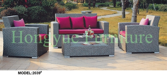 Rattan garden sofa furniture set with cushion and pillows sale in