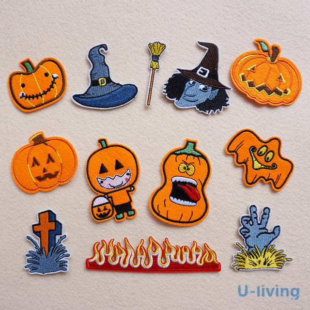 1pcs mix halloween patch for clothing iron on embroidered sew applique cute patch fabric badge garment