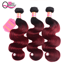 May Queen Pre-colored 3&4 Bundles Ombre Brazilian Body Wave Hair Burgundy T1B 99J Red Color Non Remy Human Weave