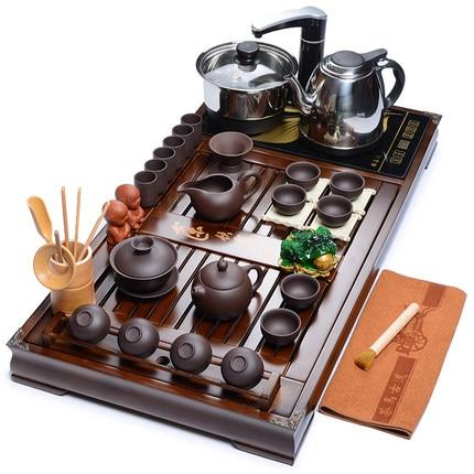 Wholeset Cinese Kung Fu tea set Casa Zisha/set da tè In Ceramica Quattro-in-one stufa elettrica tea Taiwan tè vassoio in legno massiccio Accessorie