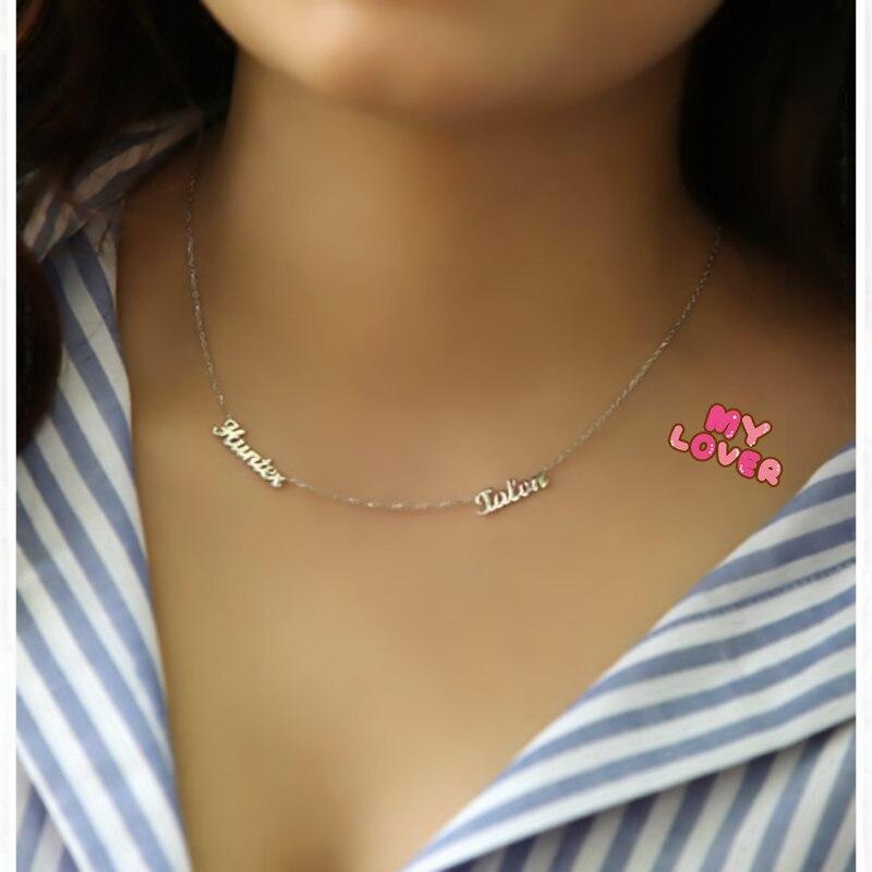 Sideway personnalisé deux plaque signalétique collier 2 nom pendentifs BFF bijoux maman enfant nom Bar collier cadeau de noël