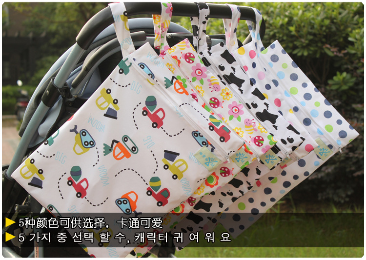 HTB18m54XcfrK1Rjy1Xdq6yemFXa4 Baby 30*40cm Diaper Bag Infant Waterproof Reusable Wet Dry Bag Print Pocket Nappy Bag Travel Single Layer Diaper Bag with Zipper