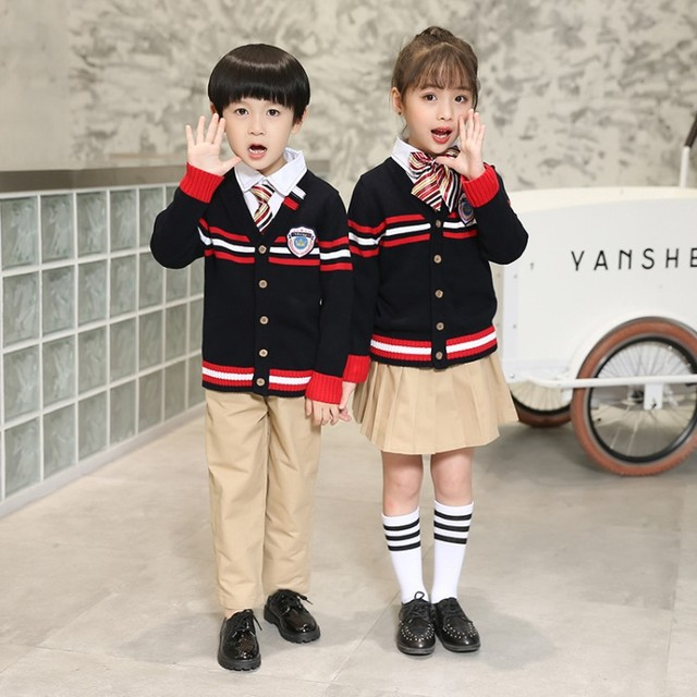 8833 Size 90-180cm  Autumn and Winter School Uniforms for Boys and Girls Primary and Secondary Schools Three-piece Clothes Sets