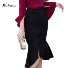 2017 Summer Women Office Skirts S-5XL Fashion Mermaid Slim Sexy Bodycon Pencil Skirt Lady Ruffles Open Slit Elegant OL Skirt
