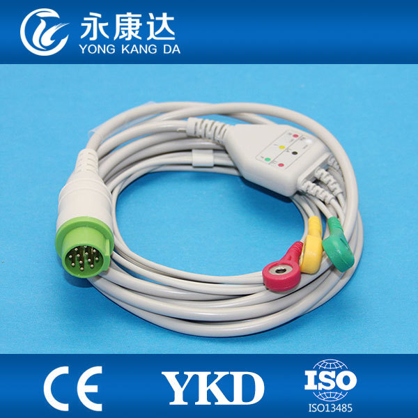 One piece 12Pin 3leads ECG cable and leadwires with Snap for BLT,IEC,CE&ISO13485