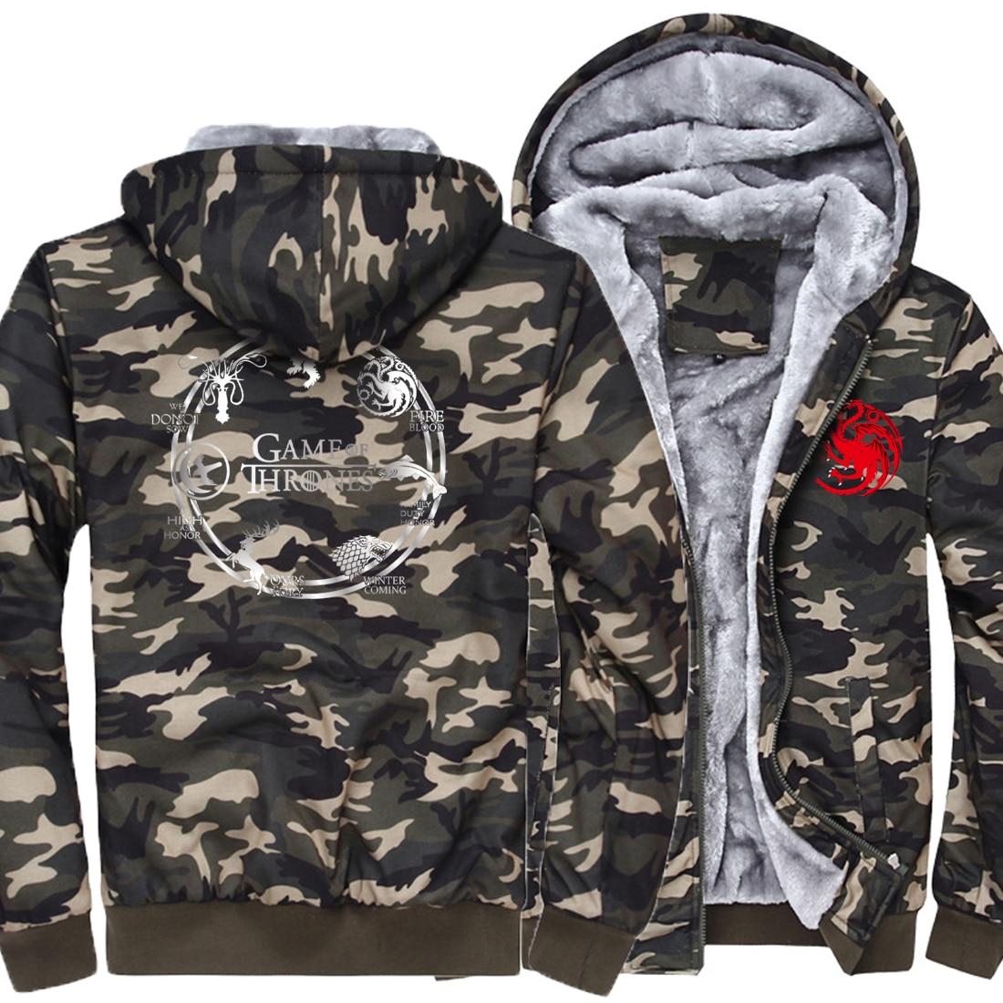 Hombres camouflage Sudaderas Hop Impresión Sudadera Invierno Capucha camouflage Tronos Hip Camouflage Juego Nueva Casual Moda Kpop Con 2019 Gruesa Hipster camouflage De ta1qwg