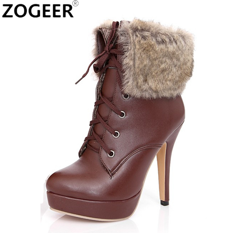 af55f78ba20b ZOGEER 2019 Hot Snow Boots Platform Women Winter Shoes Waterproof Ankle  Boots Lace Up Fur Black High Heels Ladies Shoes