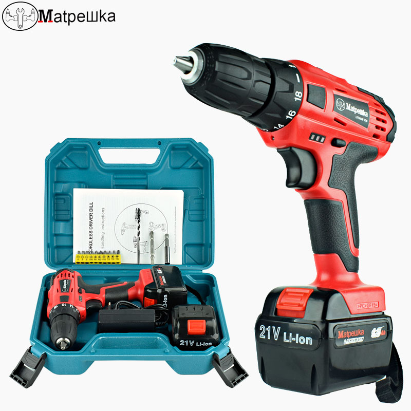 цена на 21V Electric Screwdriver Cordless Rechargeable Screwdriver Lithium-ion Torque Drill Mini Electric Tool 2 Battery +13 Gifts