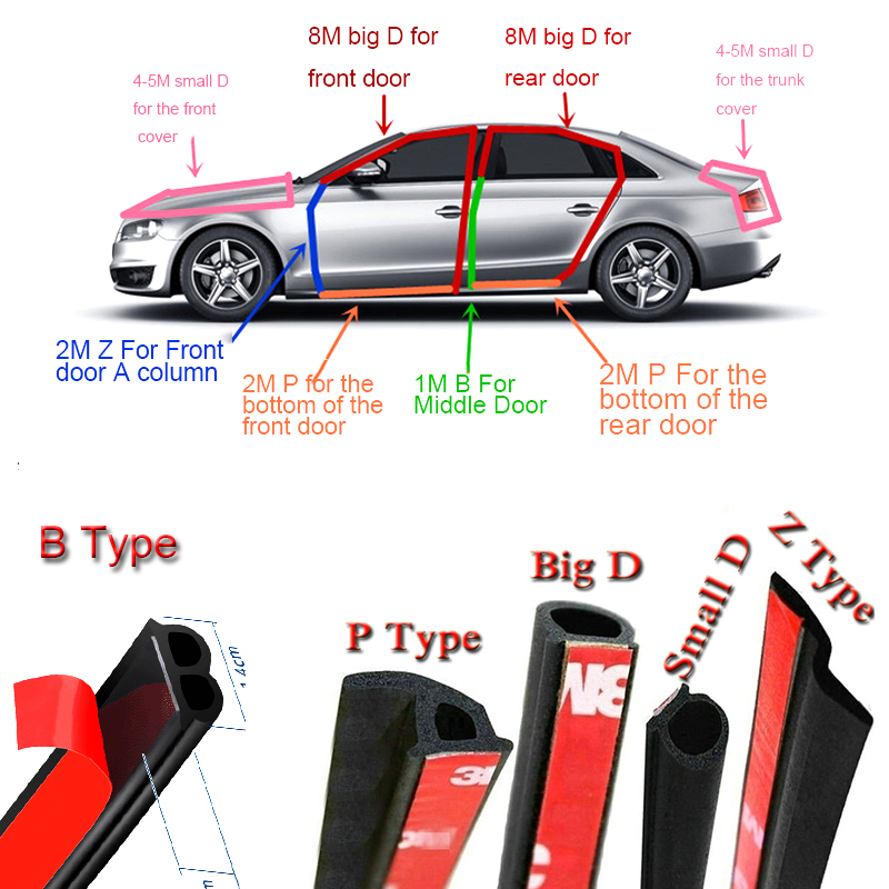 Car Door Seal 2 Meter Auto Strip Big D Small D Z P B Type Waterproof Trim Sound Insulation Weatherstrip EPDM Rubber Seal Strips