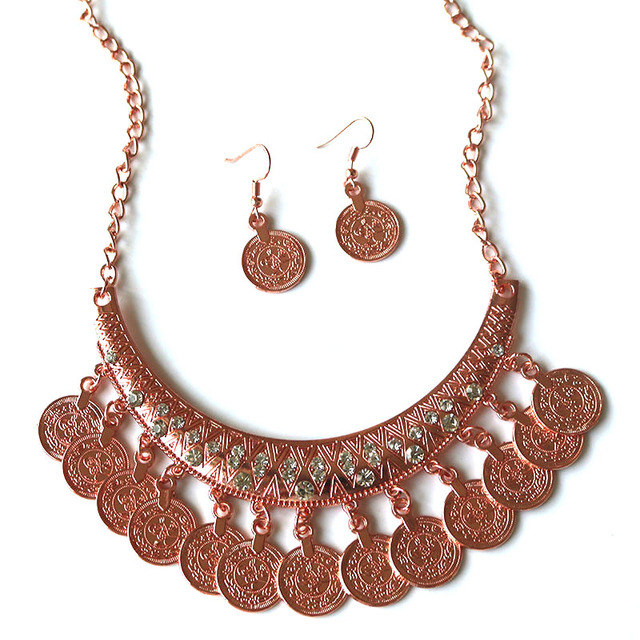 Ornamented Influencial Coins Necklace and Earrings Complect