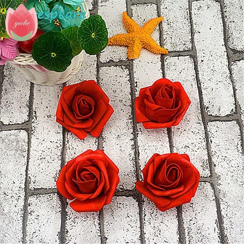Оптовая продажа 100 шт./лот 6 см Пены Искусственные цветы розы головка для Свадебные украшения DIY декоративные розы Скрапбукинг Craft Флорес
