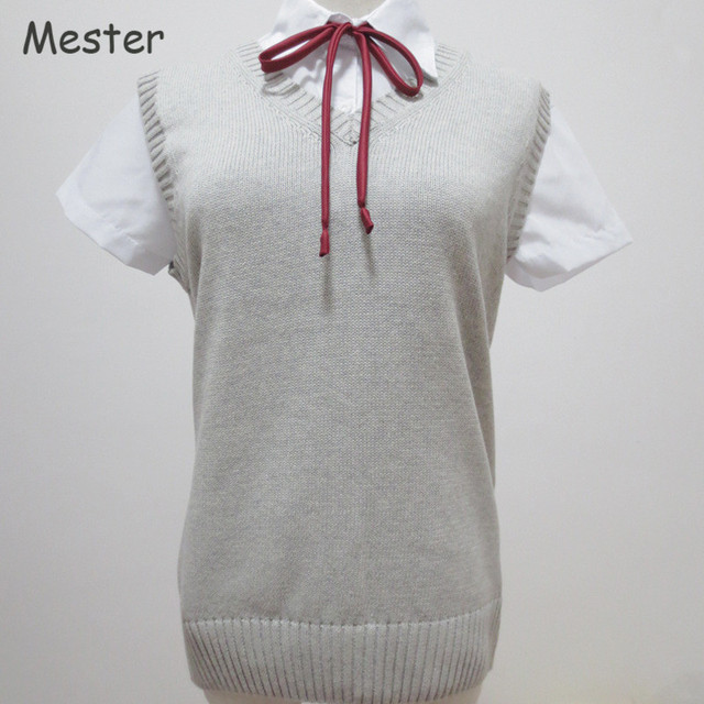 Japanese School Uniform Sweater Vest Kawaii Sleeveless V