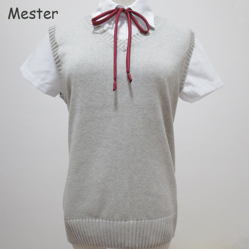 Japanese School Uniform Sweater Vest Kawaii Sleeveless V Neck Knitting Pullovers font b Anime b font