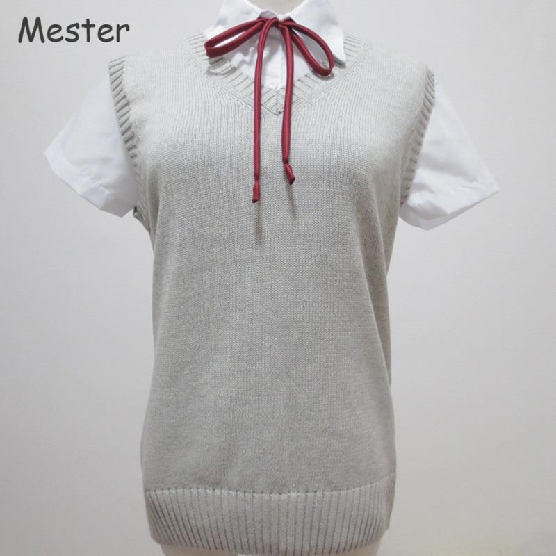 Japanese School Uniform Sweater Vest Kawaii Sleeveless V-Neck Knitting Pullovers Anime Cosplay JK Clothing Girl or Boy Student