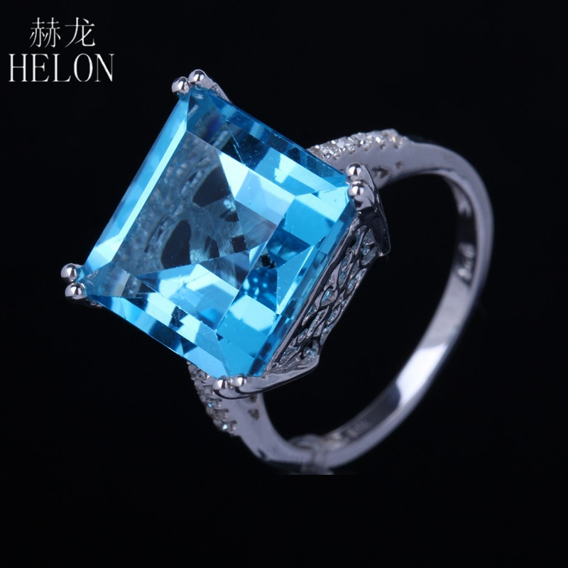 HELON 925 Sterling Silver 12mm Princess Cut 12.82ct Genuine Blue Topaz Pave 0.13ct Diamond Engagement Wedding Fine Jewelry Ring helon sterling silver 925 flawless 11x9mm emerald cut 4 36ct real blue topaz natural diamond engagment wedding ring fine jewelry
