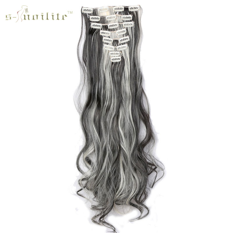 SNOILITE Synthetic 18 Clips in Hair Extensions Hairpiece 24inch 170g Straight False Styling 8pcs set