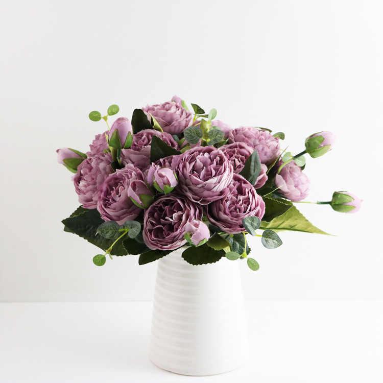 1 バンドルシルク牡丹花束ホームデコレーションアクセサリー結婚式のパーティースクラップブック偽植物 diy ポンポン人工バラの花