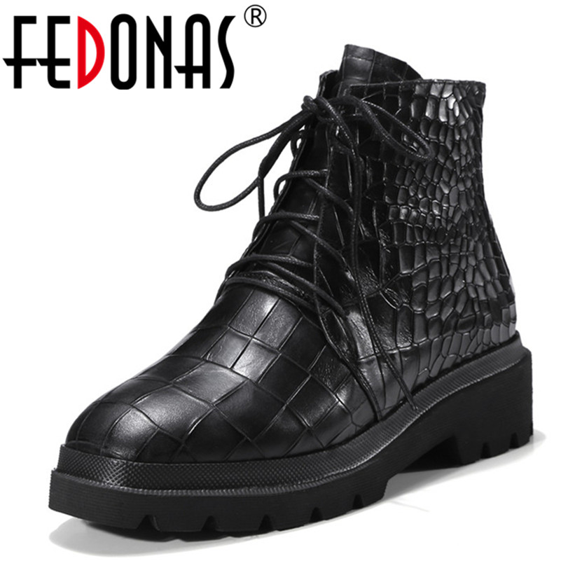 FEDONAS 2018 Punk Women High Heeled Ankle Boots Platforms Corss-tied Autumn Winter Warm Motorcycle Snow Boots Short Shoes Woman fedonas russia women boots keep warm snow boots platforms winter mid calf boots fashion solid color high shoes woman white black