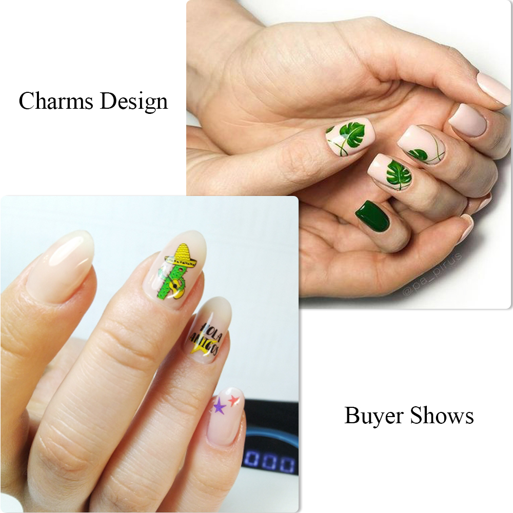 12 Designs Summer Nail Water Transfer Stickers Cactus Flamingo Heart Leaf Tattoo Decals Nail Art Decoration Slider 5