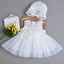 Baby girls summer dresses with hat 2pcs sleeveless baby princess dress for baby 1 year birthday children girl christening gowns