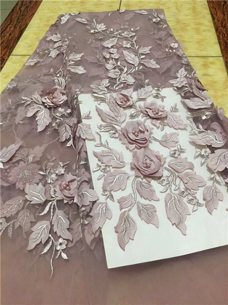 Wedding Dress Lace Fabric 3D Chiffon Flowers Nail Bead High End European Lace Fabric Free Shipping