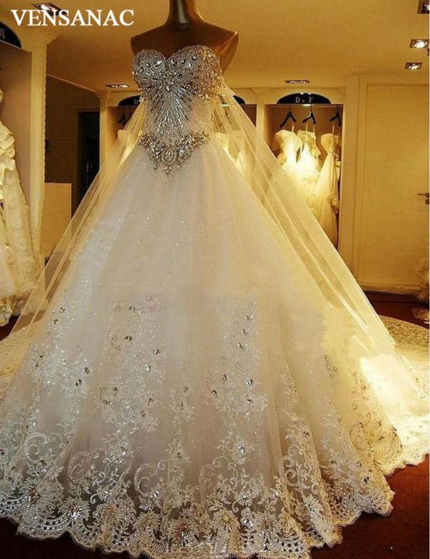 Baru A Line Crystal Sayang Off Bahu Tanpa Lengan Pengadilan Kereta - Gaun pengantin
