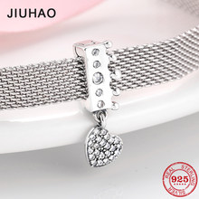 925 Sterling Silver Princess's crown with dangle clear CZ Heart Clip beads Fit Original reflection Charm Bracelet jewelry making(China)
