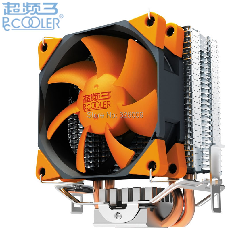 PCcooler S88 CPU cooler 2 heatpipe 4pin 8cm PWM quiet fan for AMD for Intel 775 1151 1150 1155 1156 1366 cooling radiator fan