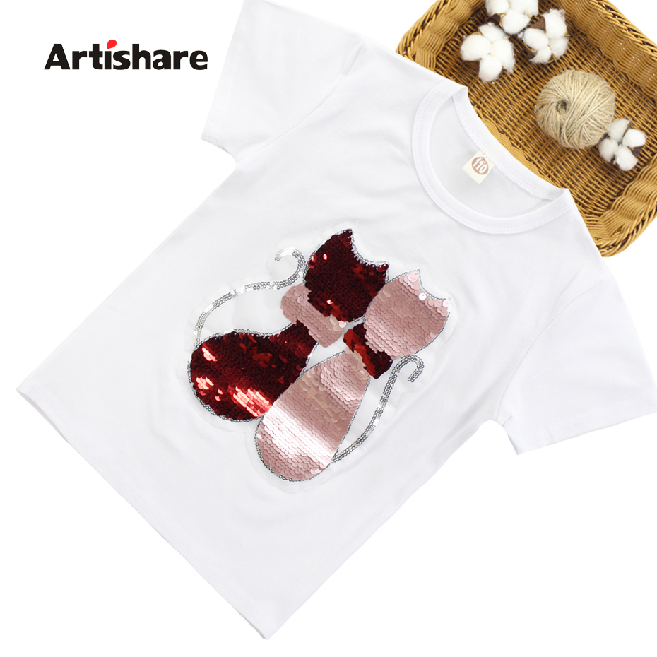 T-Shirts For Girls Sequins T Shirt Girls Cartoon Cat Kids Tshirt Summer Teen Clothes For Girls 6 8 10 12 13 14 Year(China)