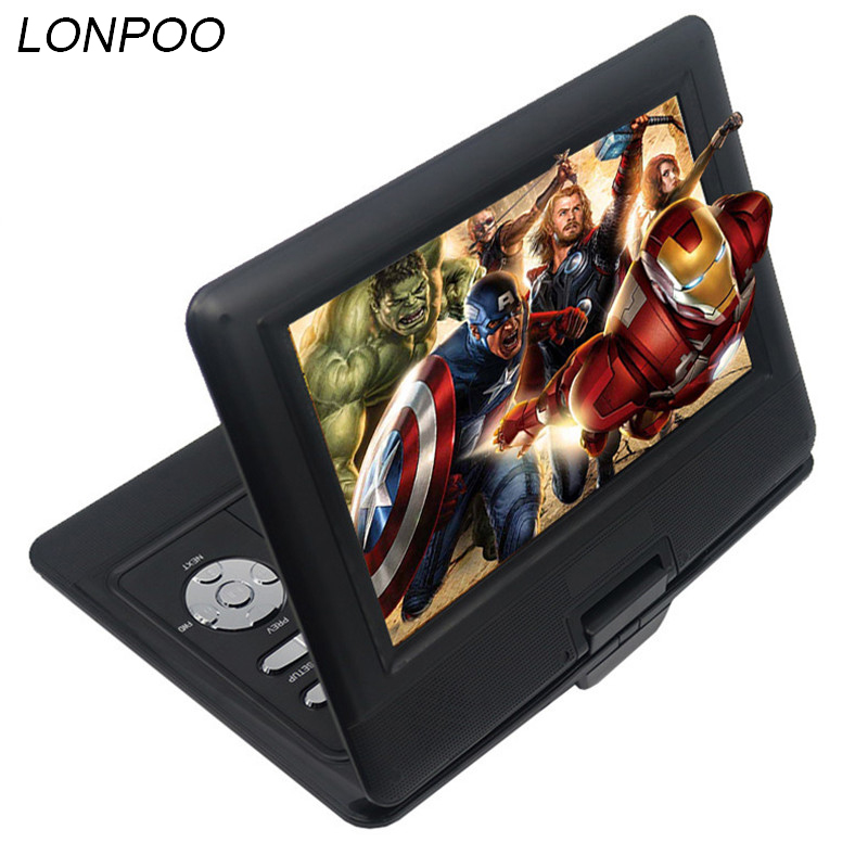 LONPOO 10.1 inch Portable DVD Player TFT LCD Screen Multi media DVD Player With car charger and game function support DVD/CD/MP3 9 8 inch lcd screen digital multimedia portable evd dvd with tv avi cd r rw peg 4 game function 270 degree rotation hd player